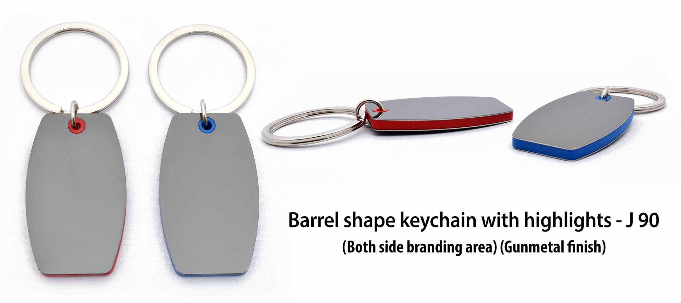 J90 - Barrel shape keychain with highlights