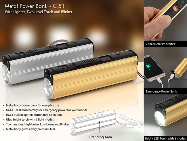 Metal Power bank with Lighter, two level Torch and blinker - C51
