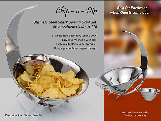 SS Chip n Dip set of Large & small bowl (Gramophone style) - H115