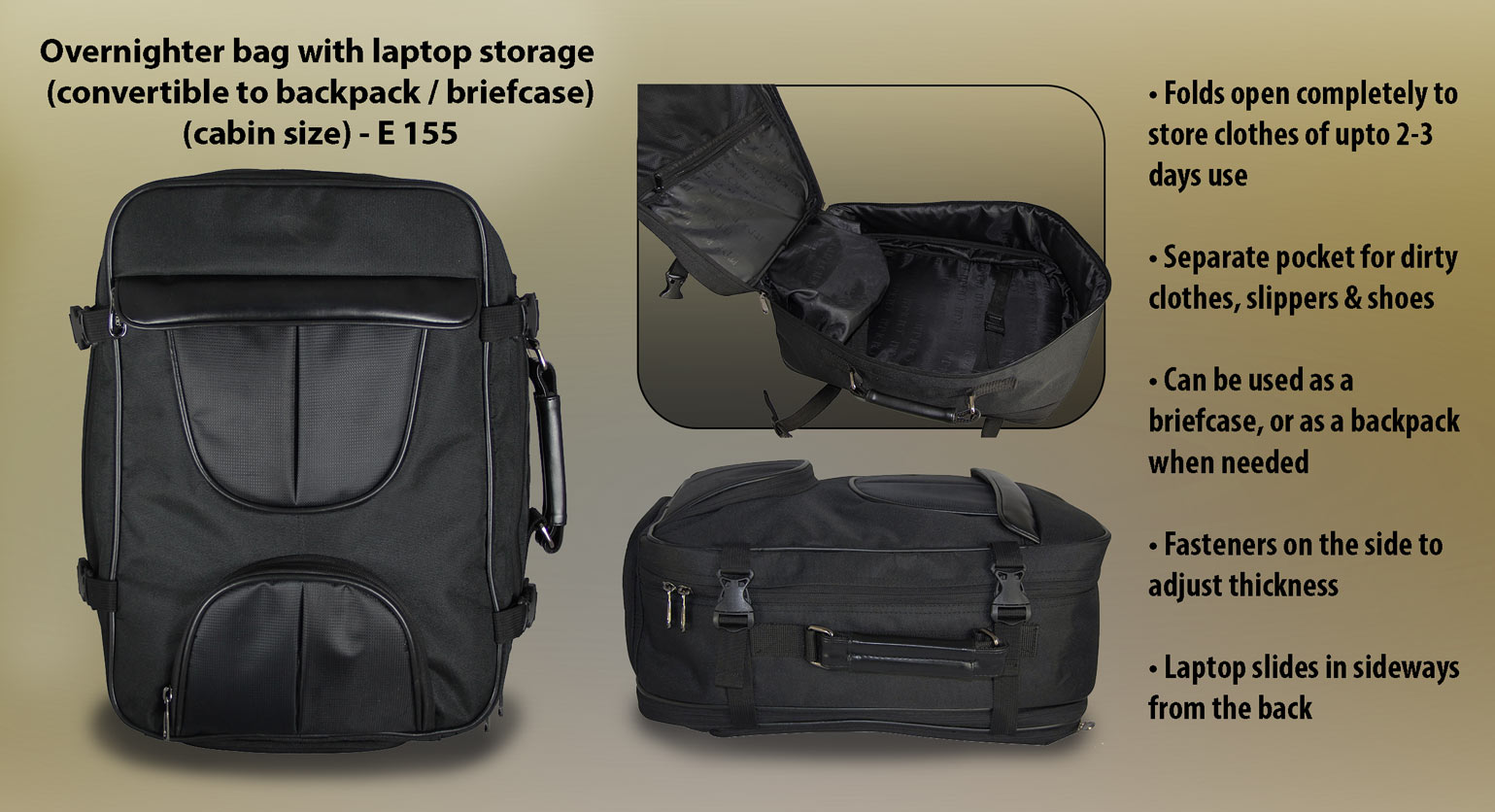 E155 - Overnighter bag with laptop storage (convertible to backpack / briefcase) (cabin size)