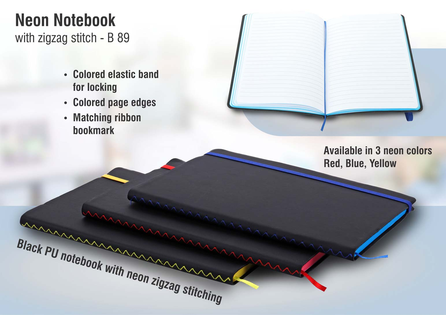 B89 - Neon notebook with zigzag stitch