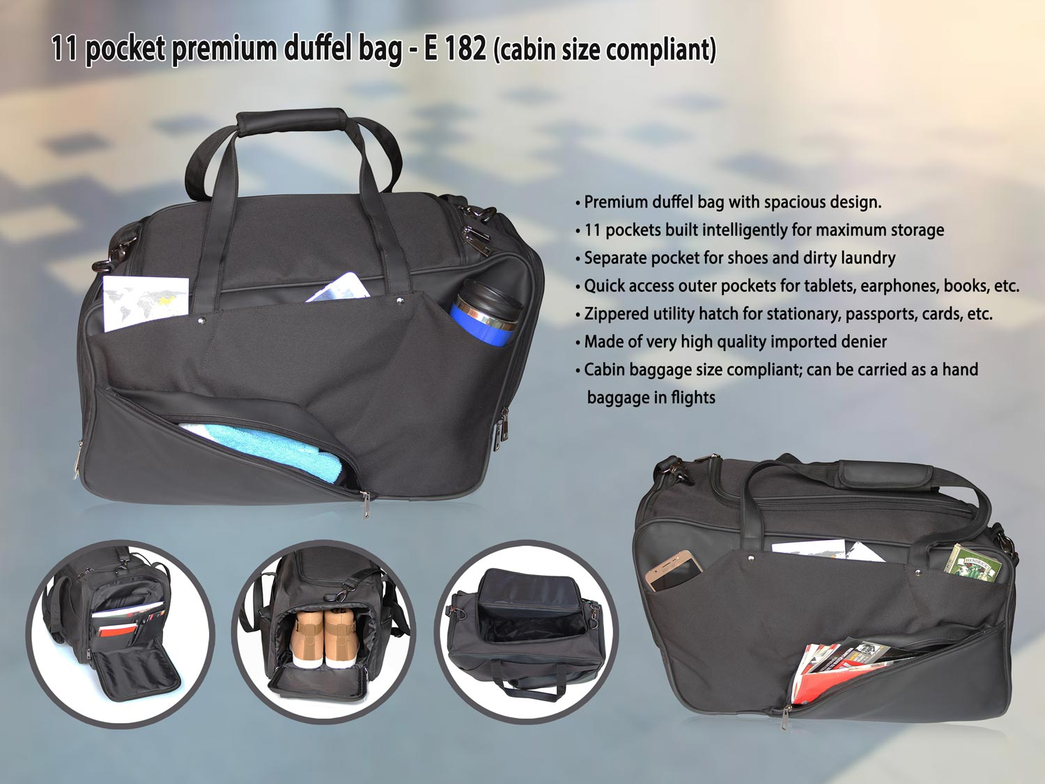 E182 - 11 POCKET PREMIUM DUFFEL BAG (CABIN SIZE COMPLIANT)