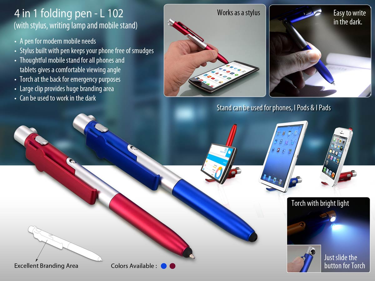 L102 - 4 in 1 folding pen with stylus, writing lamp and mobile stand
