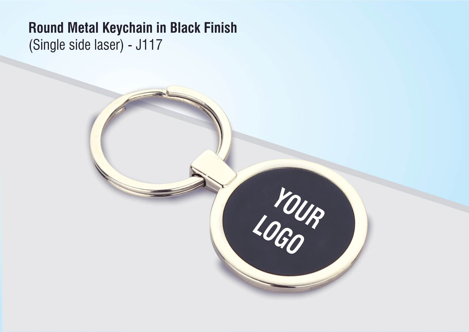 J117 - Round metal keychain in Black finish (single side laser)