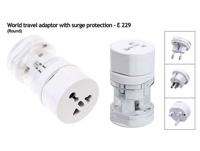 World travel adaptor with surge protection (round) - E229