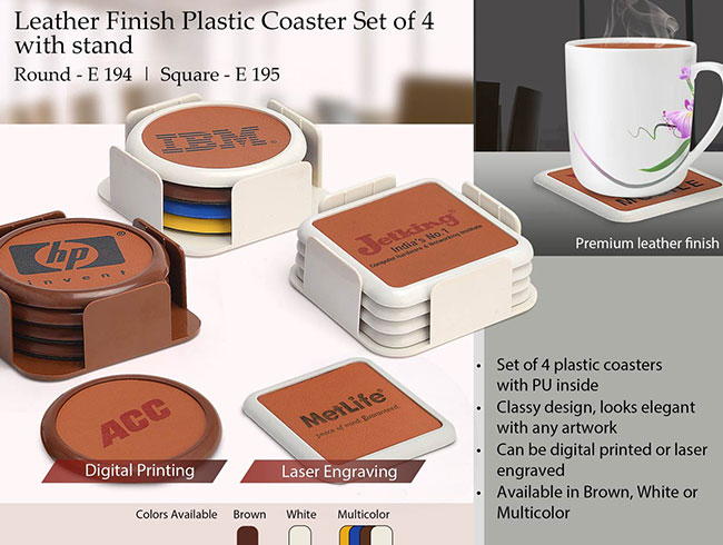 Leather finish Plastic coaster set of 4 with stand (square) - E195