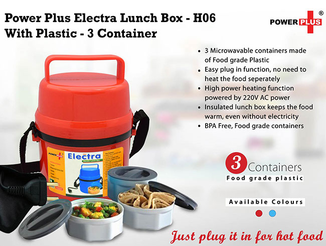 Power Plus Electra Lunch Box Plastic- 3 Container - H06