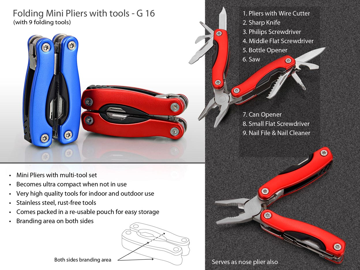 G16 - Folding Mini Pliers with 9 tools (superior quality)