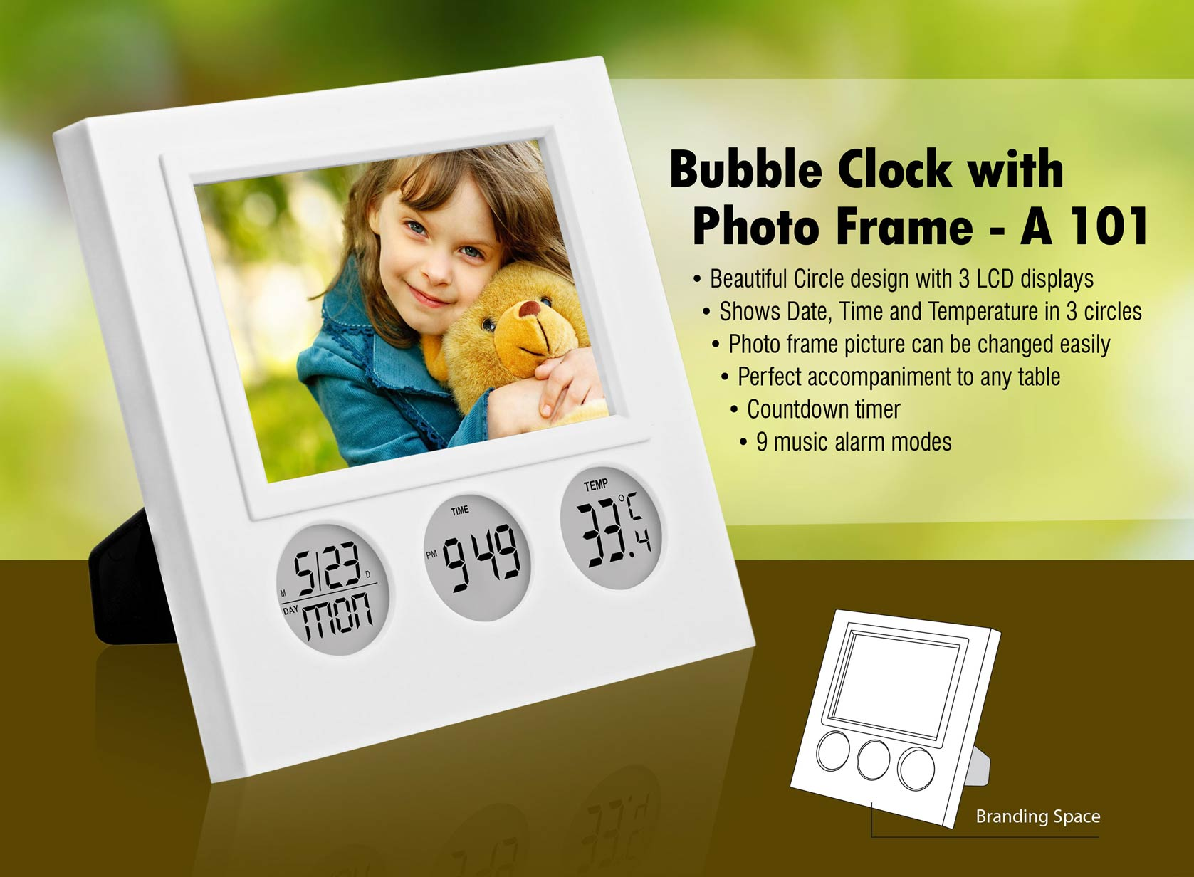 A101 Bubble Clock with Photo Frame