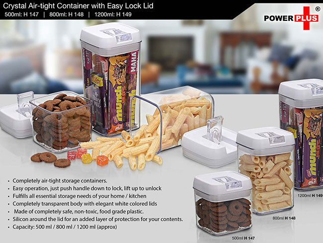Crystal Air-tight Container with Easy Lock Lid (500 ml) by Power Plus - H147