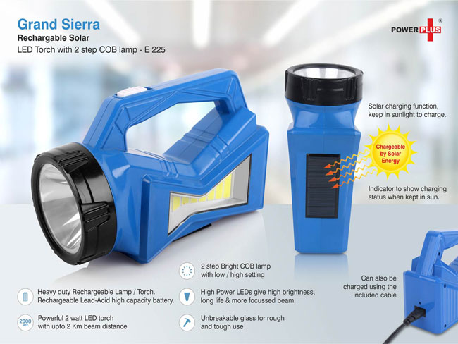 E225 - GRAND SIERRA RECHARGABLE SOLAR LED TORCH WITH 2 STEP COB LAMP