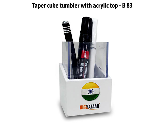 Taper cube tumbler with acrylic top - B83