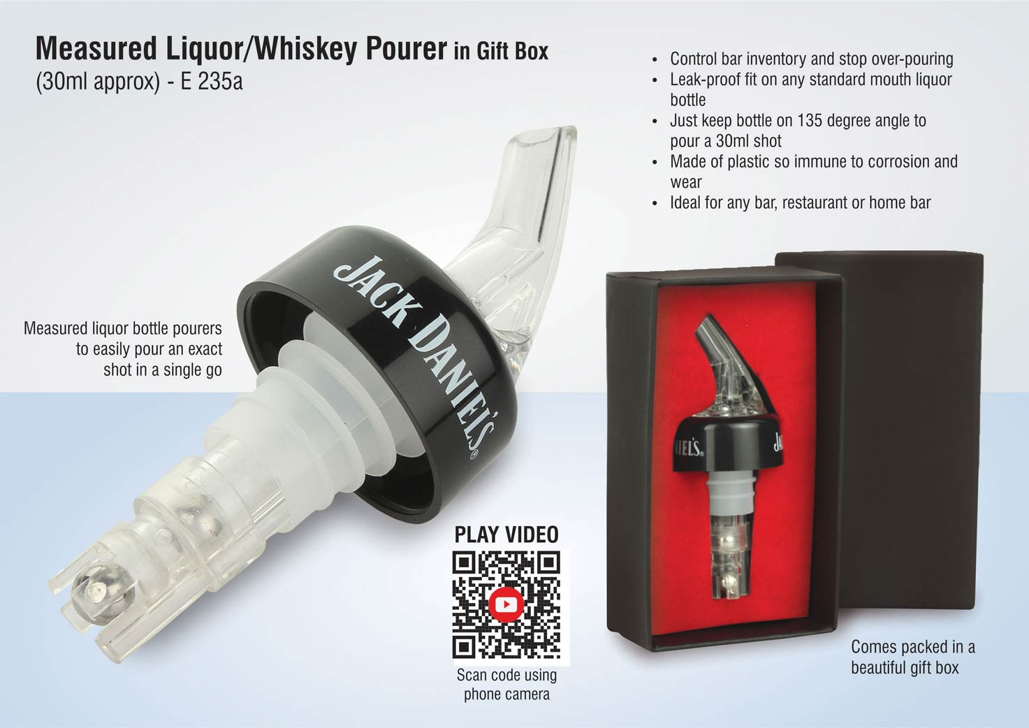 E235a - Measured Liquor/whiskey pourer in gift box (30ml approx)