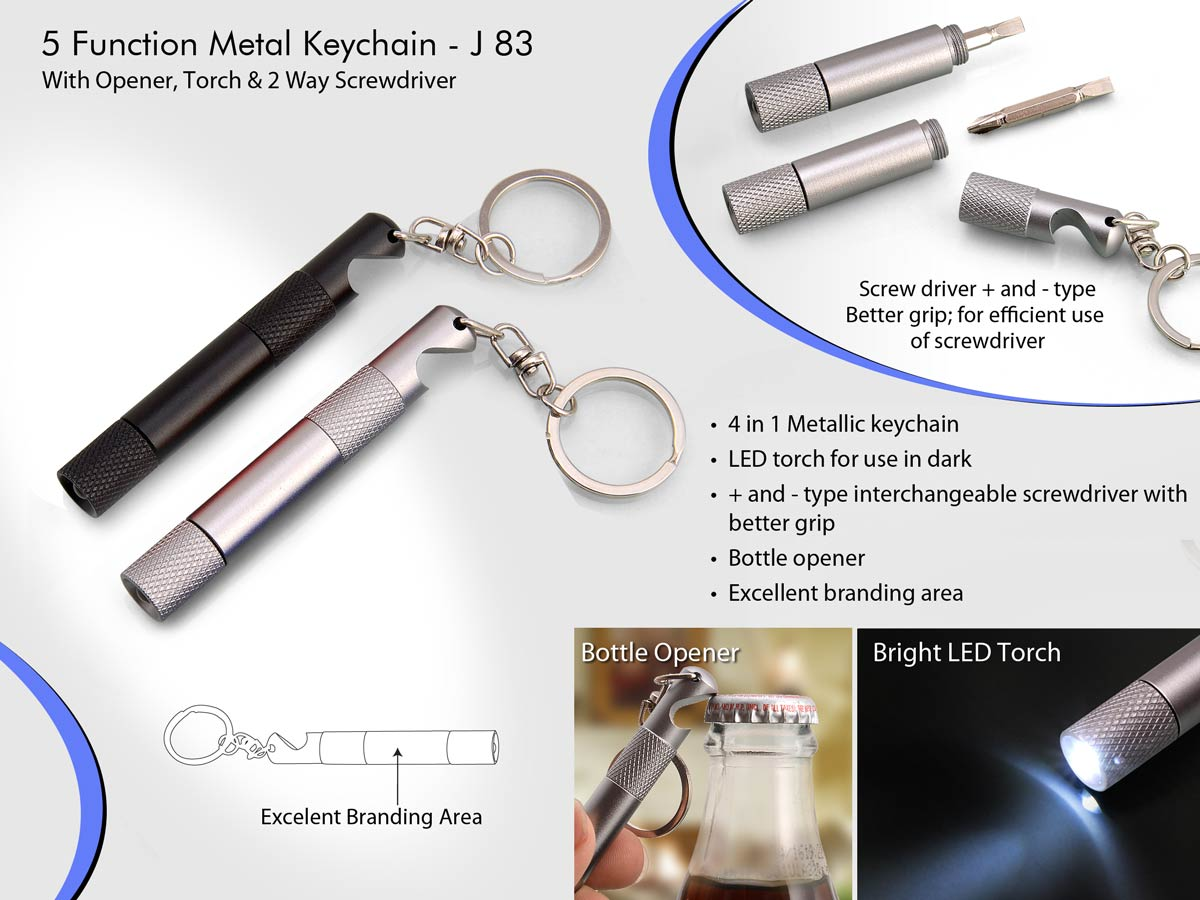 J83 - 5 function metal keychain with opener, torch & 2 way screwdriver