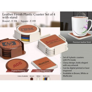 E195 - Leather finish Plastic coaster set of 4 with stand (square)
