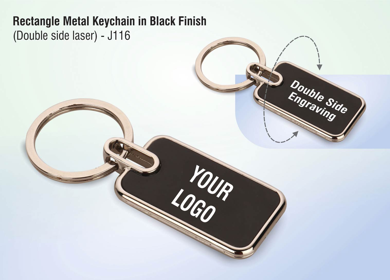 J116 - Rectangle metal keychain in Black finish (Double side laser)