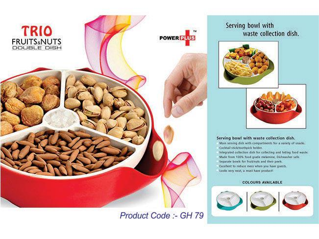 GH79 - Trio Fruit & Nuts Double Dish