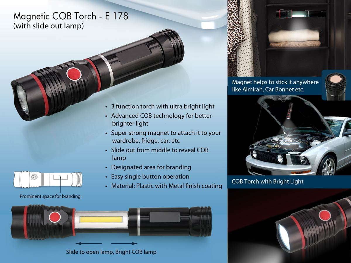E178 - Magnetic COB torch with slide out lamp