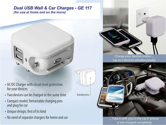 GE117 - Wall and car charger- Dual USB