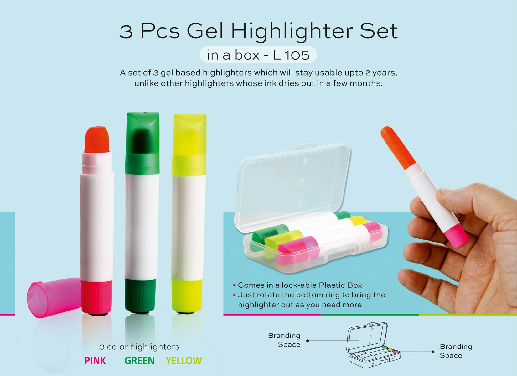 L105 - 3 pc gel highlighter set in a box