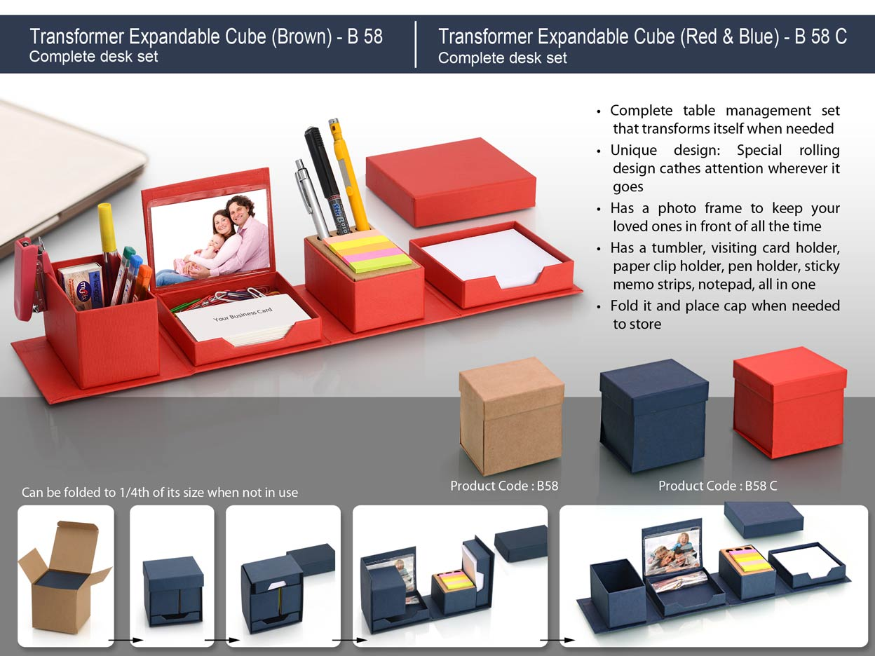 B58 - TRANSFORMER EXPANDABLE CUBE: COMPLETE DESK SET - BROWN