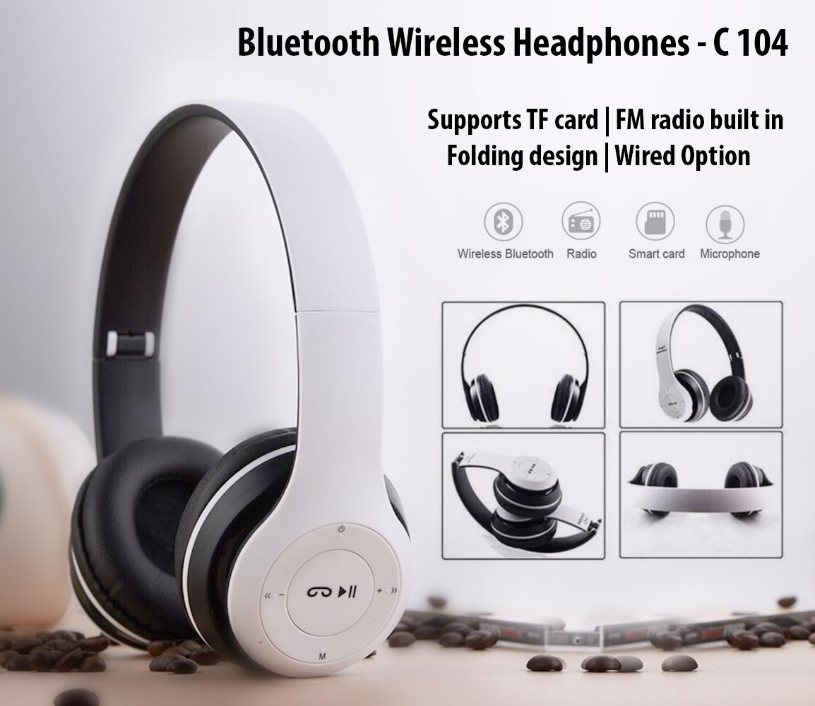 C104 - Bluetooth wireless headphones | wired option | 4-6 hours working time | TF Card and FM option