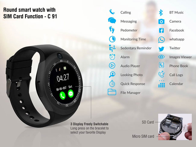 C91 - ROUND SMART WATCH WITH SIM CARD FUNCTION