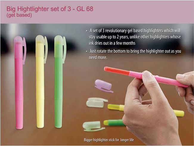 GL68 - Big Highlighter set of 3 (gel based)