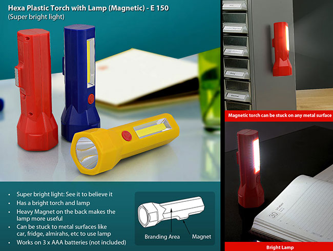 Hexa plastic torch with lamp (magnetic) - E150