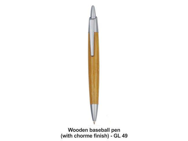 GL49 - Wooden baseball pen (with chrome finish)