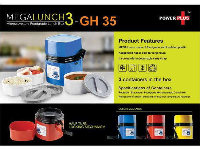GH35 - Power Plus Mega Lunch Box (Microwaveable)- 3 Box