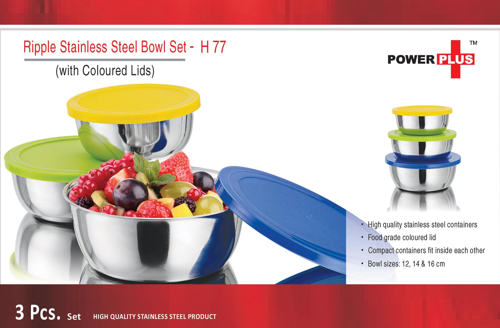 H77 - Power Plus Ripple Stainless Steel Bowl Set (Set of 3) (with coloured Lids)