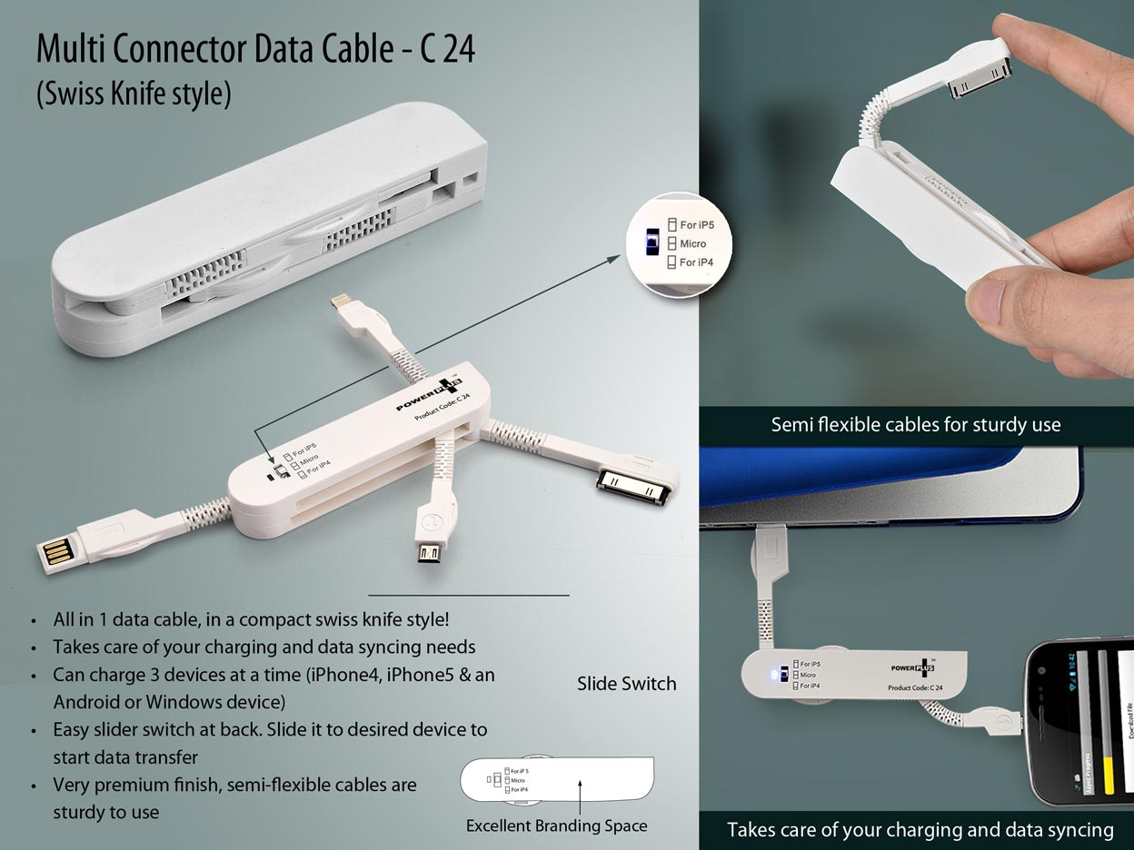 C24 - Power Plus Multi Connector Data Cable (Swiss Knife style)