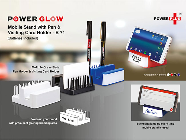 Power Glow Mobile stand with Pen and visiting card holder (Grass style) - B71