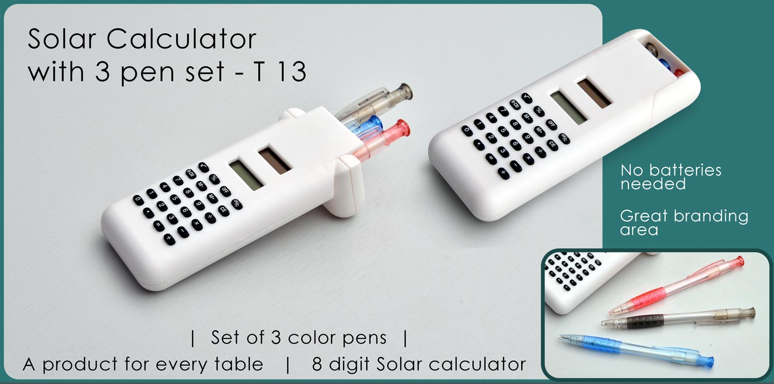 T13 - Solar calculator with 3 pen set