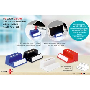 C85 - PowerGlow 3 USB hub with mobile stand and logo highlight (Top USB)