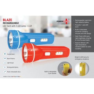 E221 - Blaze Rechargable LED Torch with 3 LED lamp