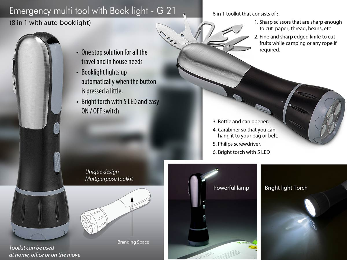 G21 - Emergency multi toolkit with Auto Book light (8 in 1 with auto-booklight)