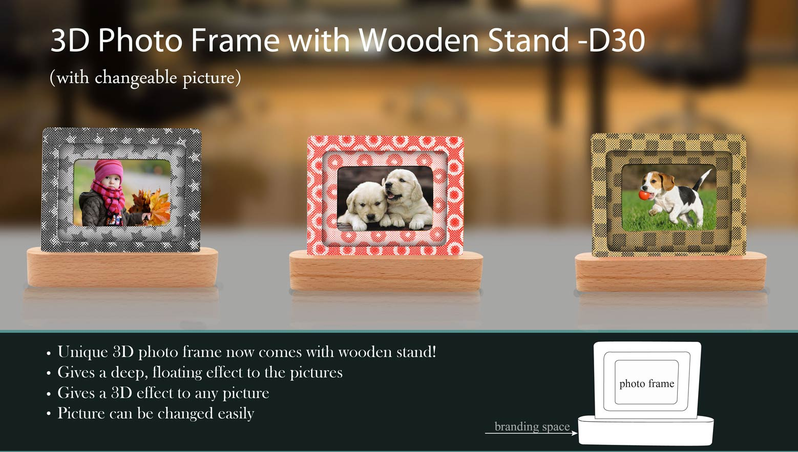 D30 - 3D photo frame with wooden stand (in gift box)