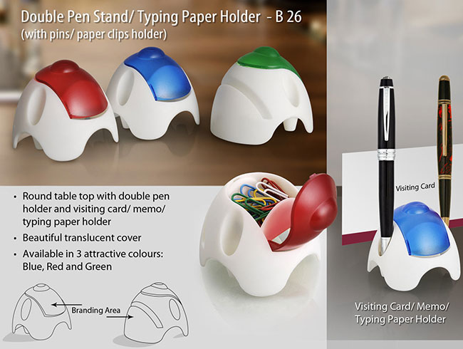 Round Table top with double pen holder, pin holder, card/memo holder (with paper clips) - B26