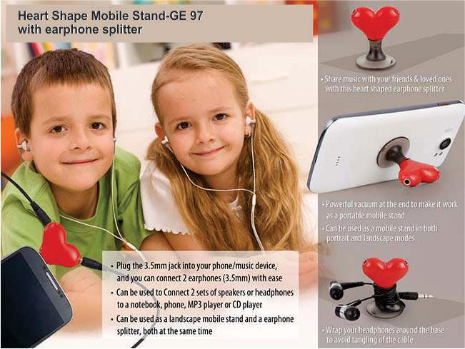 GE97 - Heart shape vacuum mobile stand with earphone splitter