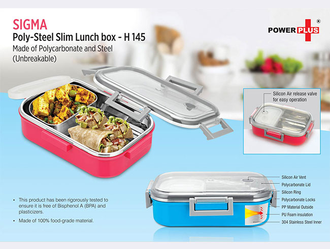 Sigma Poly-Steel Slim Lunch box (Made of Polycarbonate and Steel) (Unbreakable) - H145