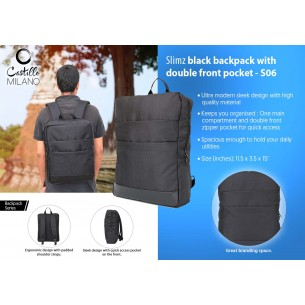 S06 - Slimz black backpack with double front pocket by Castillo Milano