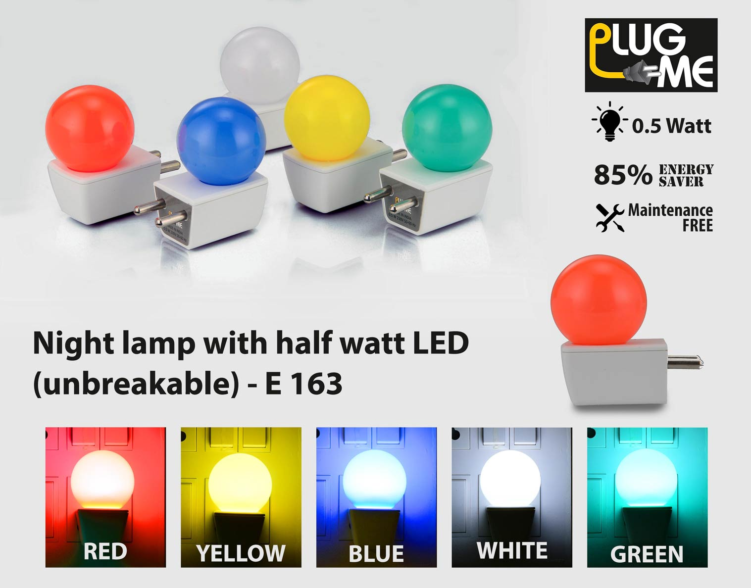 163 - Plug me: Night lamp with half watt LED (unbreakable)