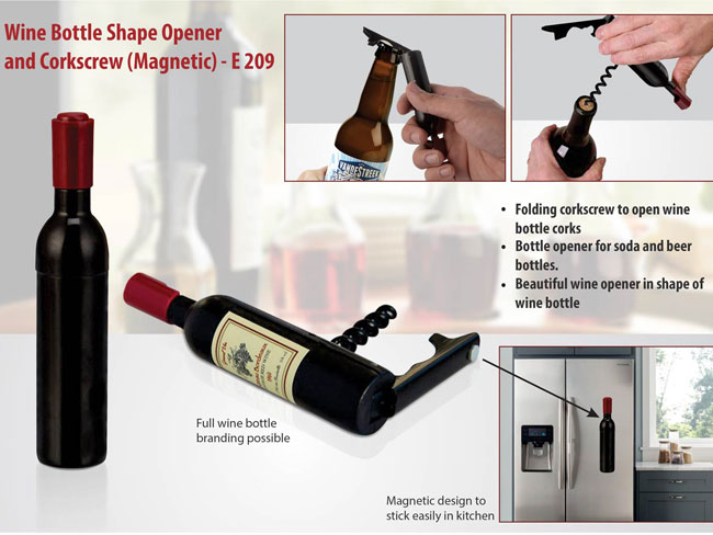 E209 - WINE BOTTLE SHAPE OPENER AND CORKSCREW (MAGNETIC)