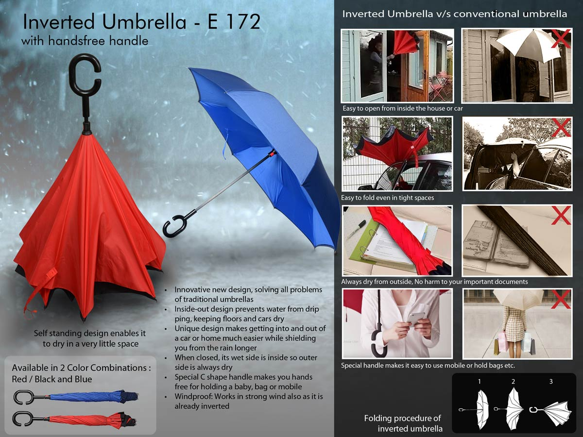 E172 - Inverted umbrella with handsfree handle