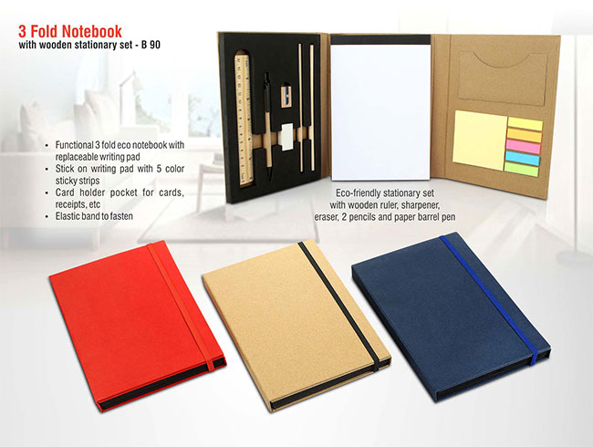 3 fold notebook with wooden stationery set - B90