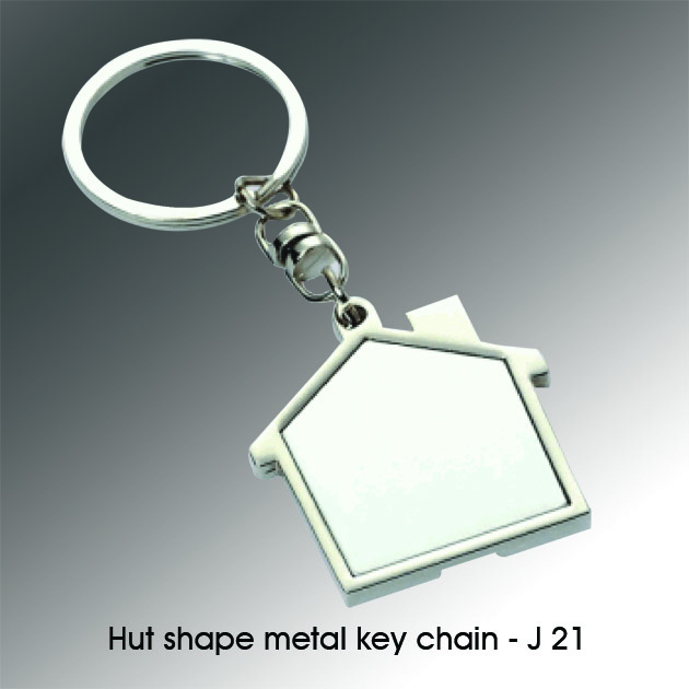 J21 - Hut Shape metal key chain