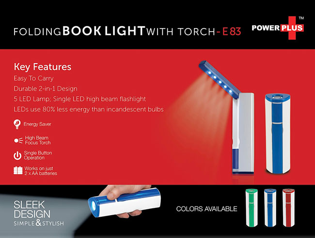 Power Plus Folding book light with torch (works on 2xAA batteries; not included) - E83