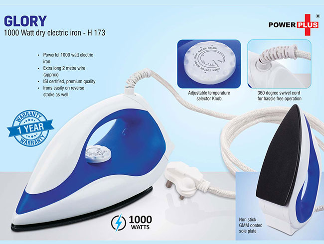 Glory: 1000 Watt dry electric iron by Power Plus | 1 year warranty - H173